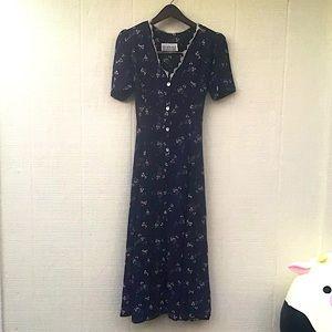 Vintage prairie style floral button front dress